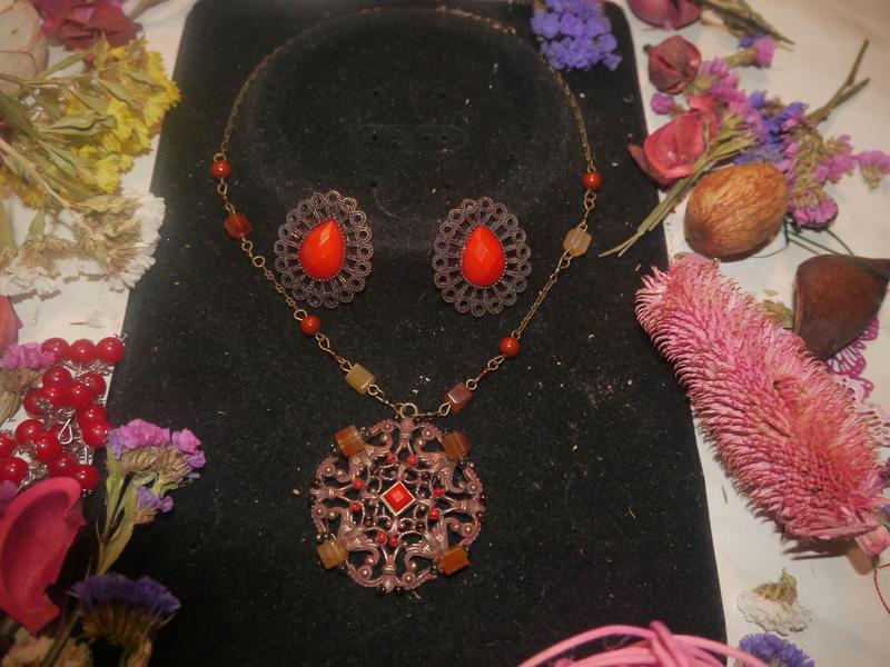 Винтажный набор ожерелье и серьги + подарок