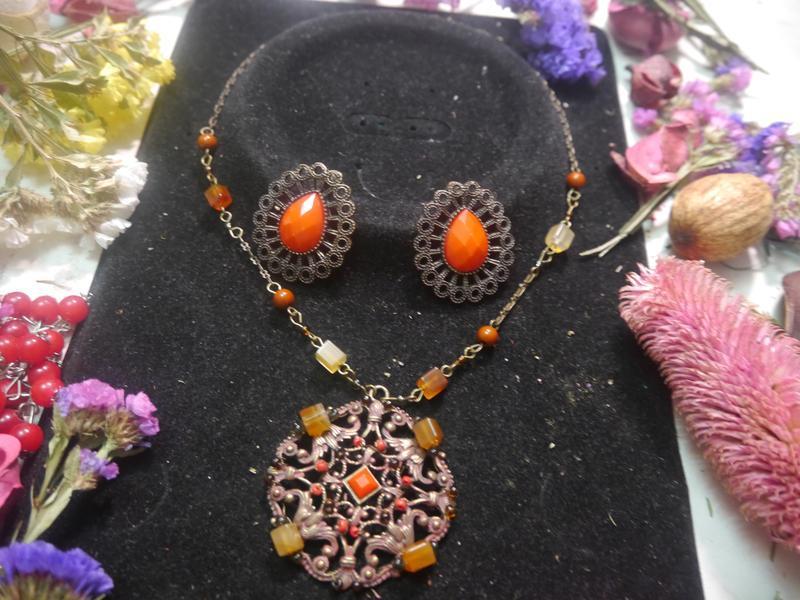 Винтажный набор ожерелье и серьги + подарок - Фото 2