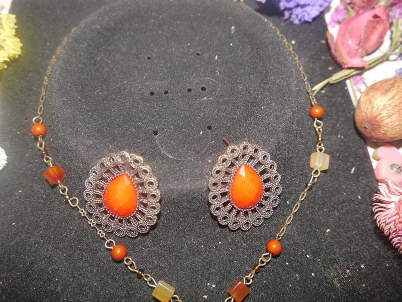 Винтажный набор ожерелье и серьги + подарок - Фото 3