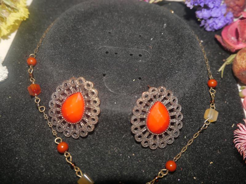 Винтажный набор ожерелье и серьги + подарок - Фото 4