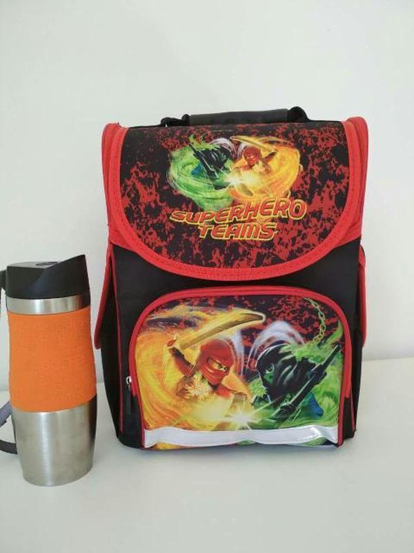 Школьный рюкзак каркасный с ортопедической спинкой  с героями ...