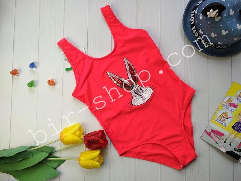 Яркий сдельный детский купальник с пайетками