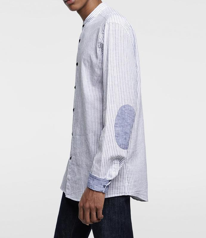 Хлопковая рубашка с длинным рукавом от zara slim fit  в состав...