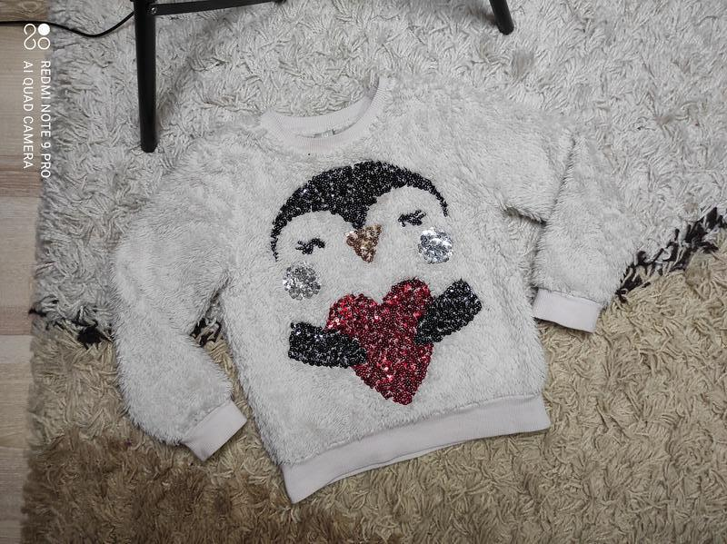 Теплый меховой свитер свитшот свитерок tu на 2-3 года