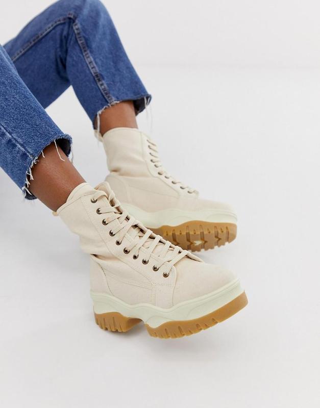 Высокие парусиновые ботинки на шнуровке asos