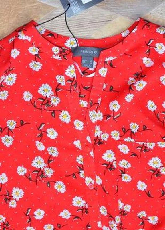 Рубашка красная в цветах - Фото 4