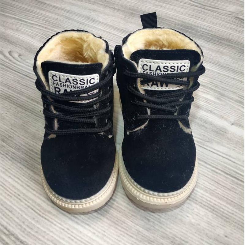 Ботиночки детские зимние с мехом raw черные