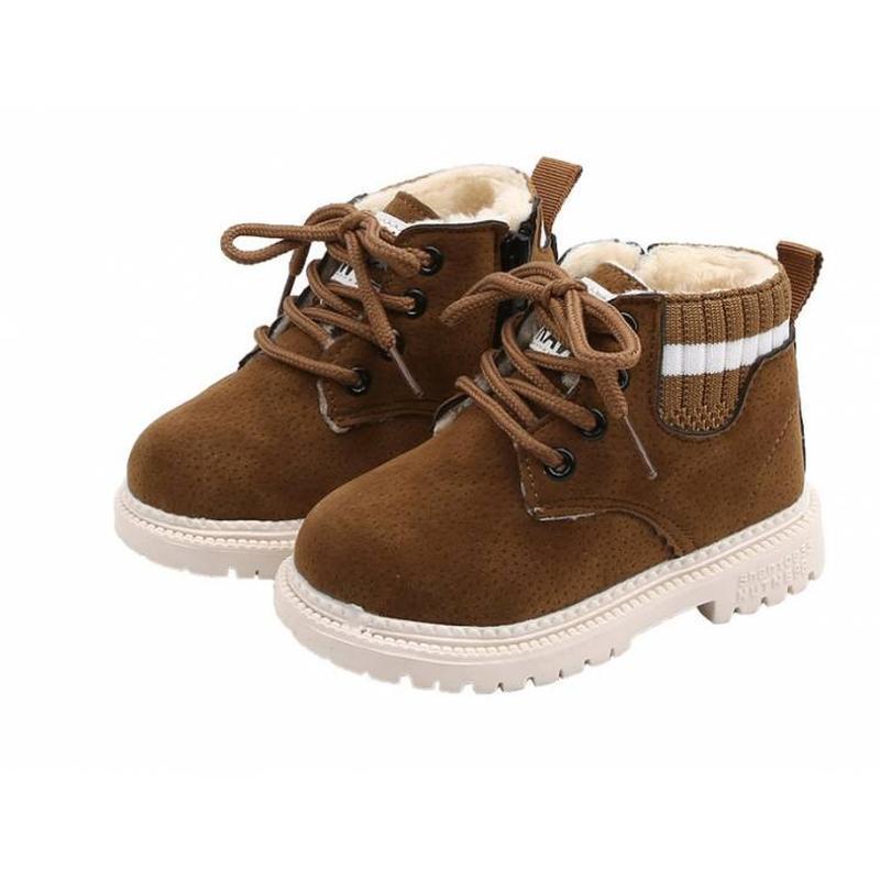Ботиночки детские зимние с мехом raw коричневые