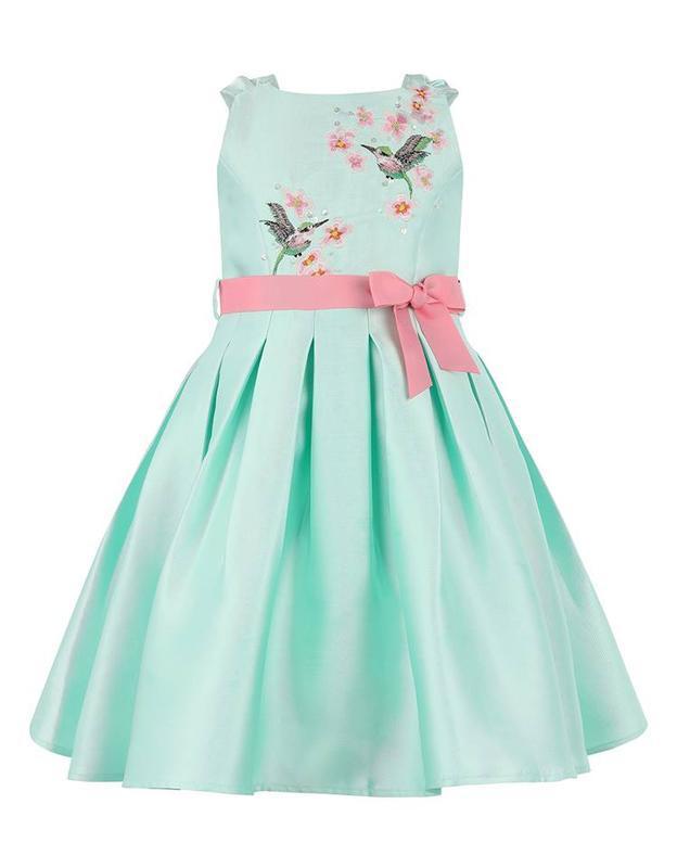 Monsoon шикарное платье с вышивкой в цвете мята