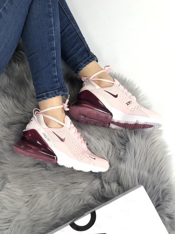 Nike air max 270 pink bordo, женские летние стильные кроссовки... - Фото 3