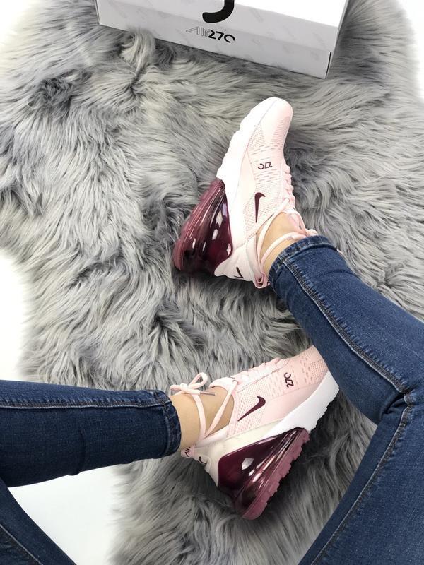 Nike air max 270 pink bordo, женские летние стильные кроссовки... - Фото 4