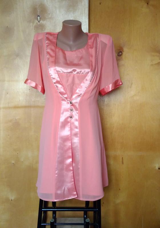 Платье сарафан костюм с болеро персиковый р 46-48