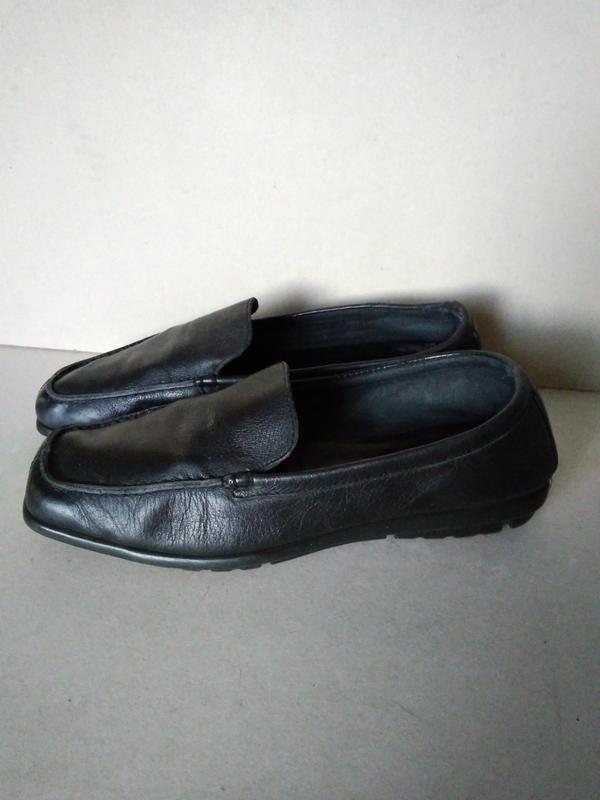 Туфли мокасины балетки черные классические кожаные р. 6 1/2 ил...