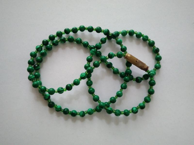 Малахит бусы ожерелье из натурального малахита и бисер ретро в...
