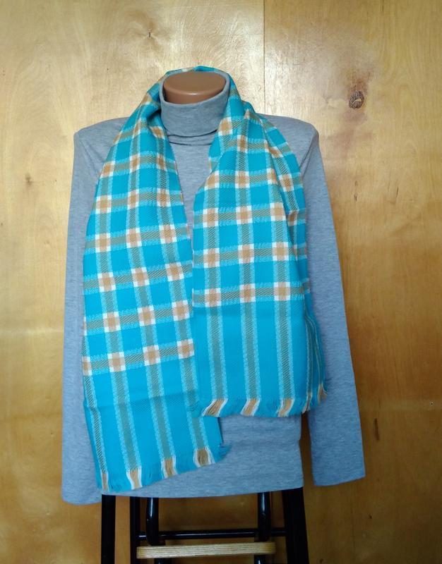 Мягкий теплый шарфик шарф в клетку голубой бежевый в составе ш...