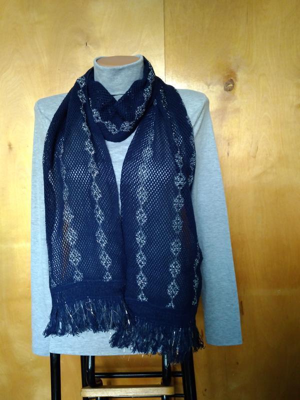 Мягкий ажурный вязаный шарфик шарф синий с серебрянной нитью