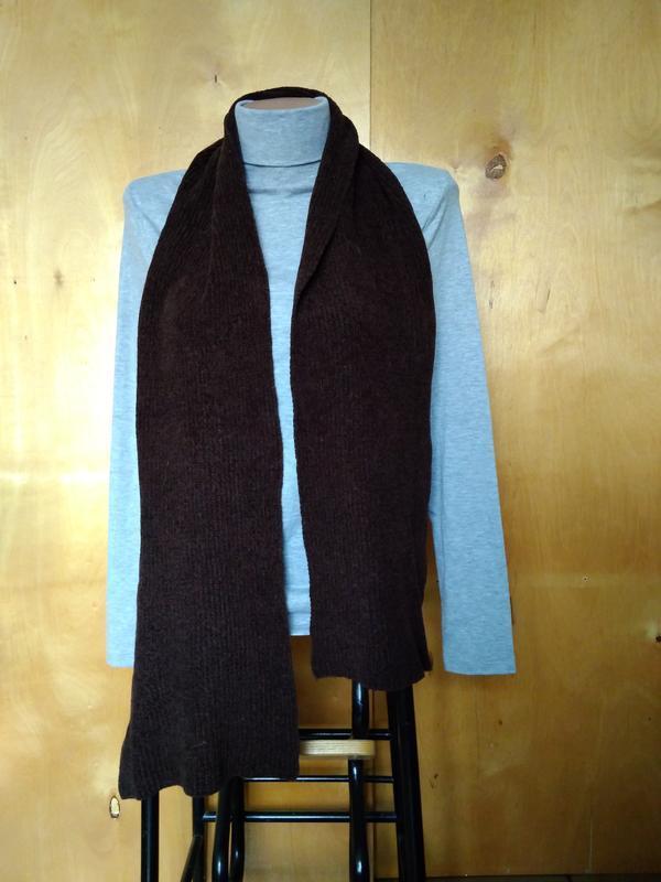 Мягкий теплый вязаный шарфик шарф шоколадный коричневый