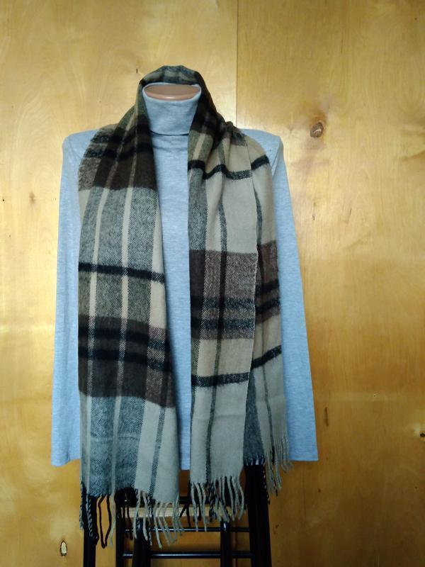 Мягкий теплый пушистый шарфик шарф бежевый коричневый в клетку