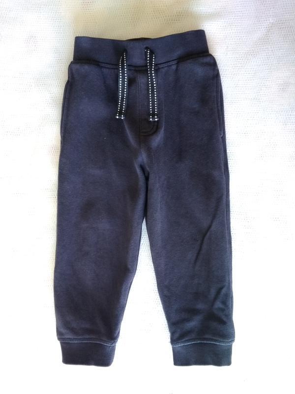 Крутые теплые темно синие спортивные штаны брюки  с начесом на...