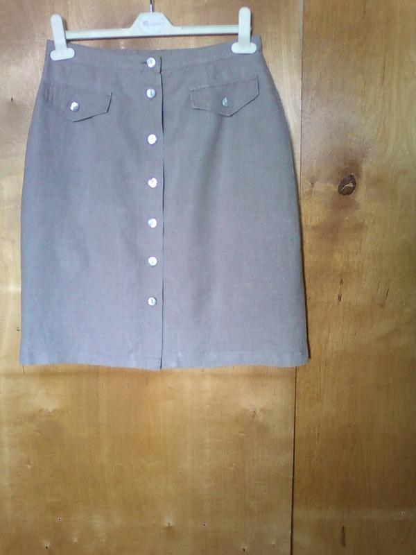 Юбка юбочка спідниця короткая мини песочная прямая р 10 или 44-46