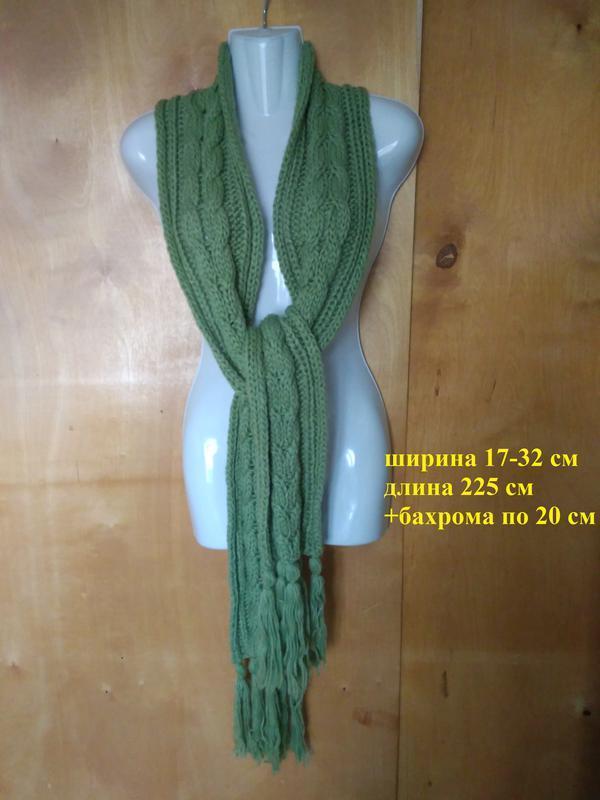 Шарф хомут длинный зеленый с бахрамой толстая пряжа вязаный 22...