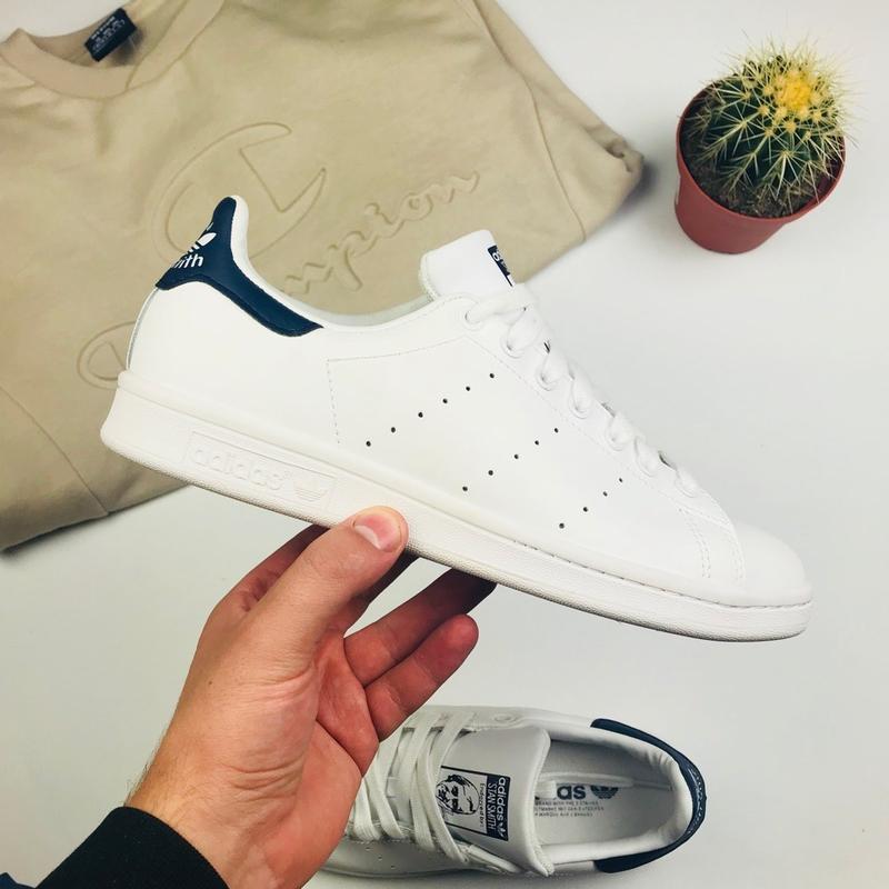 """Отличные мужские кроссовки adidas stan smith """"white/blue"""""""