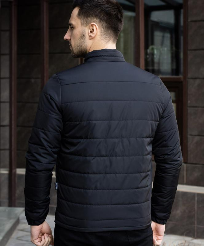 Мужская черная куртка демисезонная весна/осень стёганная курто... - Фото 2