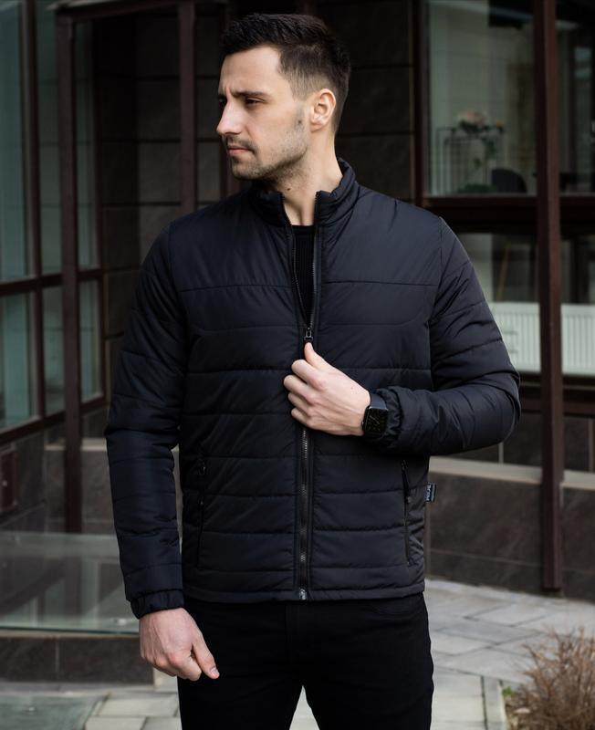 Мужская черная куртка демисезонная весна/осень стёганная курто... - Фото 4