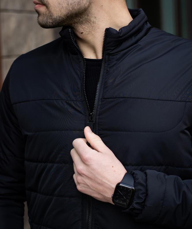Мужская черная куртка демисезонная весна/осень стёганная курто... - Фото 5