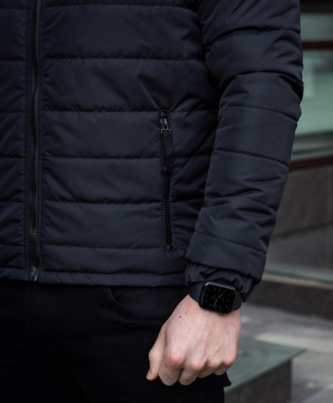 Мужская черная куртка демисезонная весна/осень стёганная курто... - Фото 6