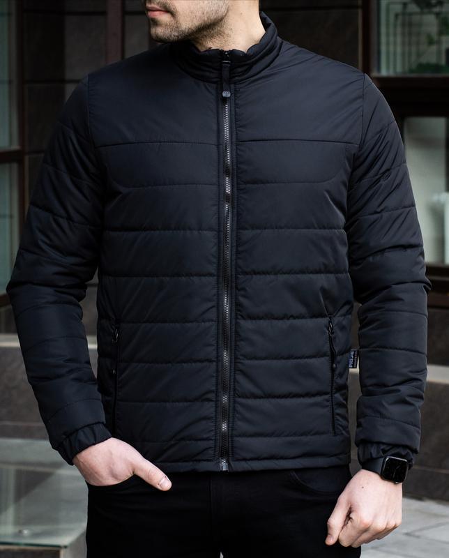 Мужская черная куртка демисезонная весна/осень стёганная курто... - Фото 7