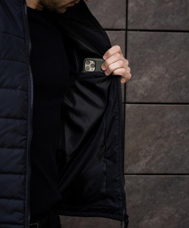 Мужская черная куртка демисезонная весна/осень стёганная курто... - Фото 8