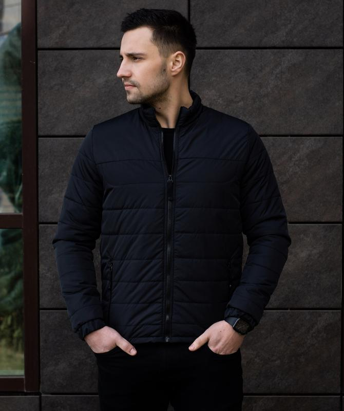Мужская черная куртка демисезонная весна/осень стёганная курто... - Фото 9