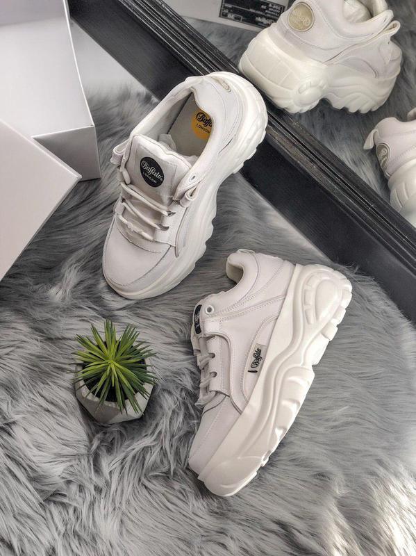 Шикарные женские кроссовки на платформе buffalo white  😍 (весн... - Фото 4