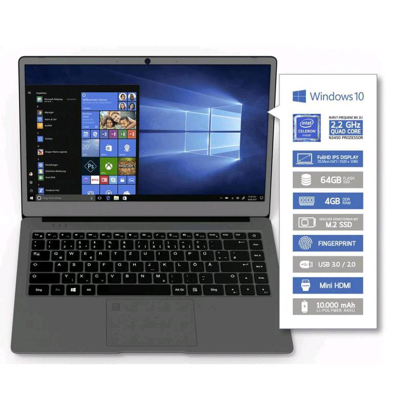 "Ультрабук Odys Winbook 14""IPS FHD 4/64Gb 10000мА*ч Silver"