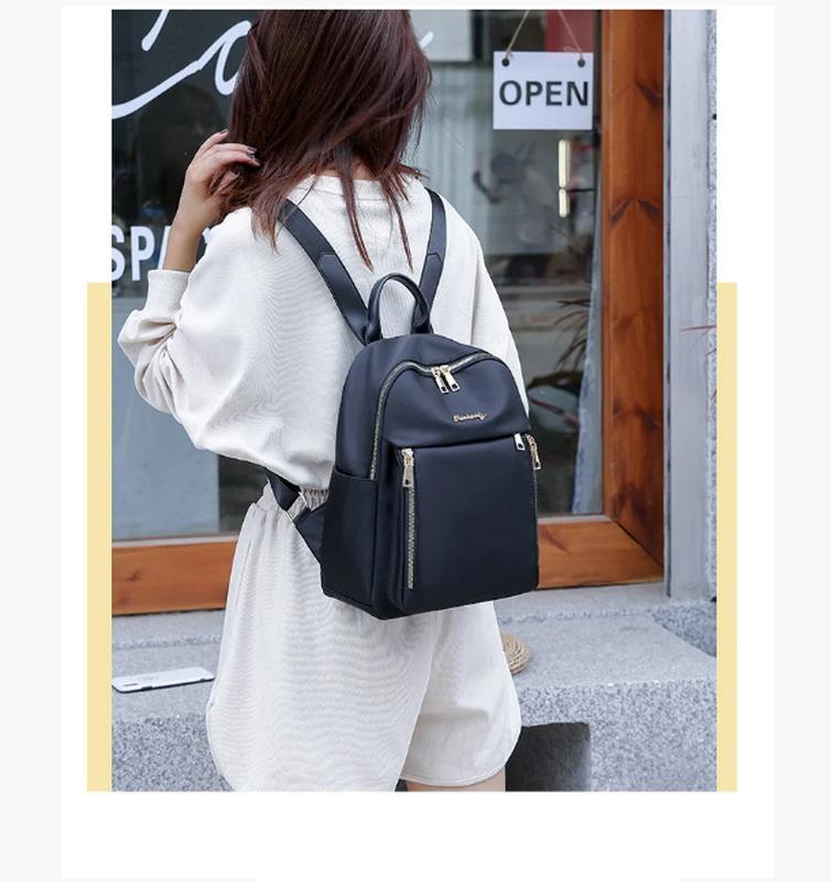 Рюкзак женский черный из нейлоновой ткани - Фото 3