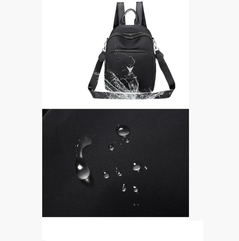 Рюкзак женский черный из нейлоновой ткани - Фото 2
