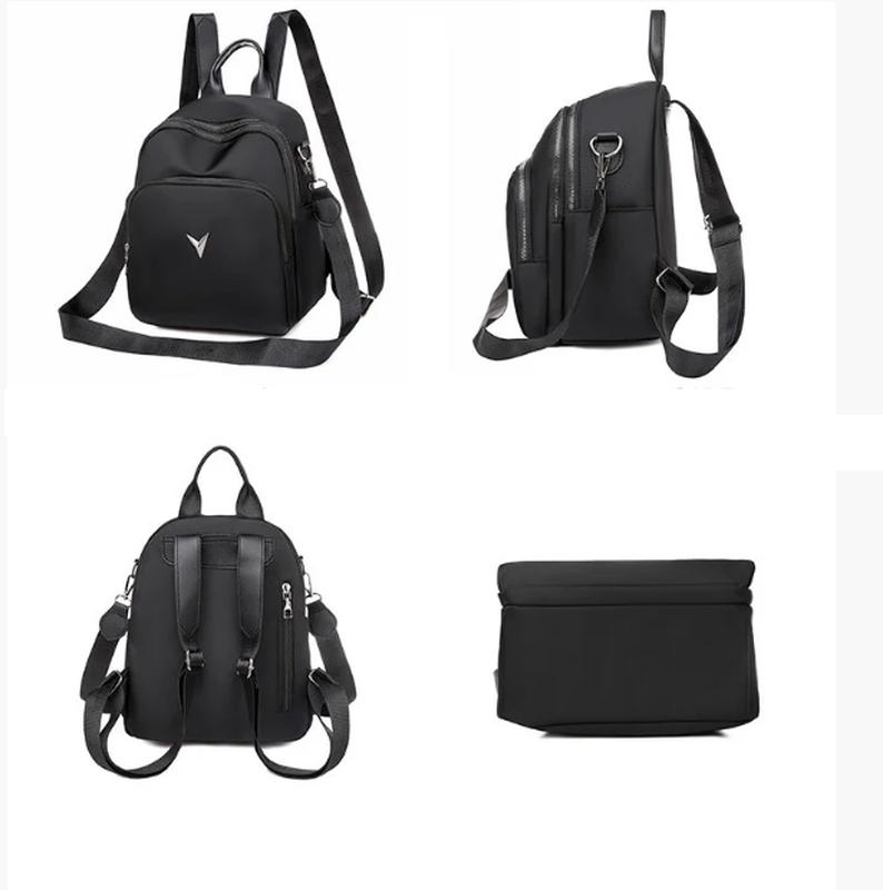 Рюкзак женский черный из нейлоновой ткани - Фото 4