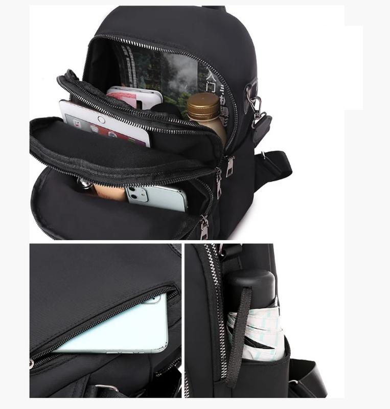 Рюкзак женский черный из нейлоновой ткани - Фото 6