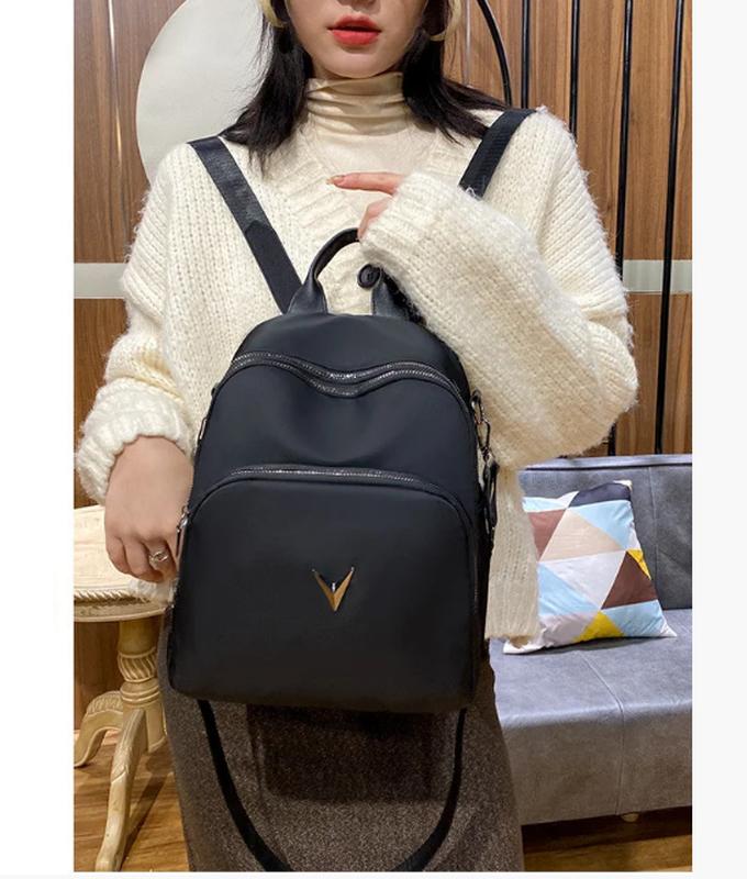 Рюкзак женский черный из нейлоновой ткани - Фото 7