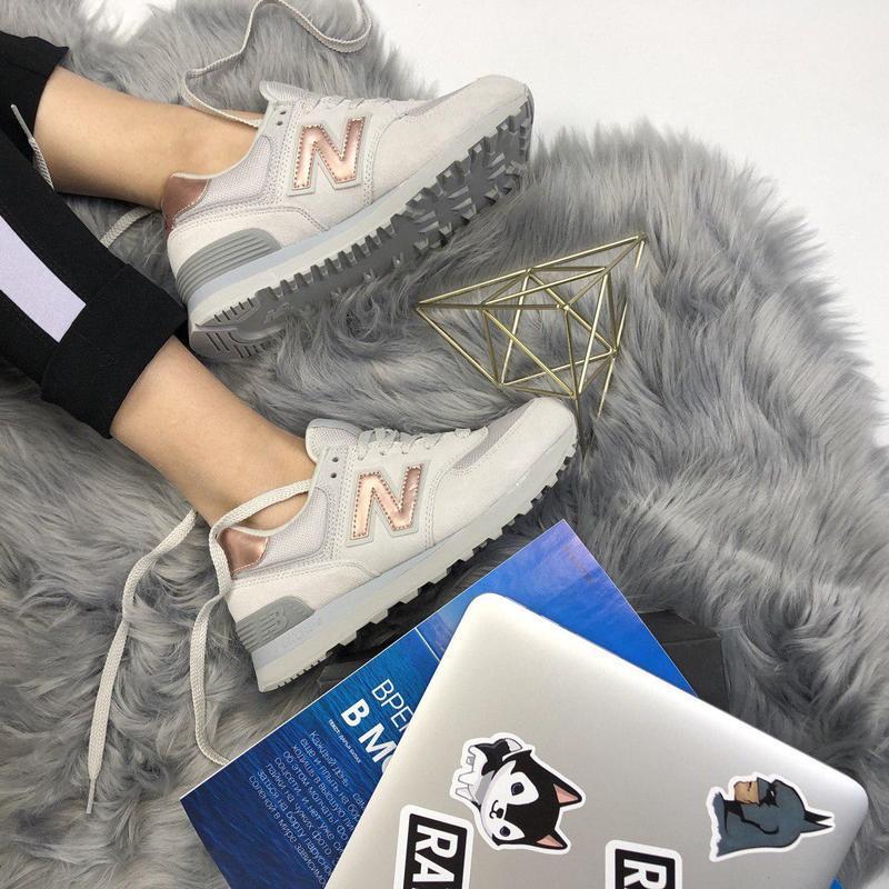 Шикарные женские кроссовки new balance 574 grey gold 😍 (весна/...