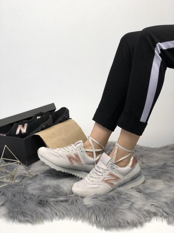 Шикарные женские кроссовки new balance 574 grey gold 😍 (весна/... - Фото 2