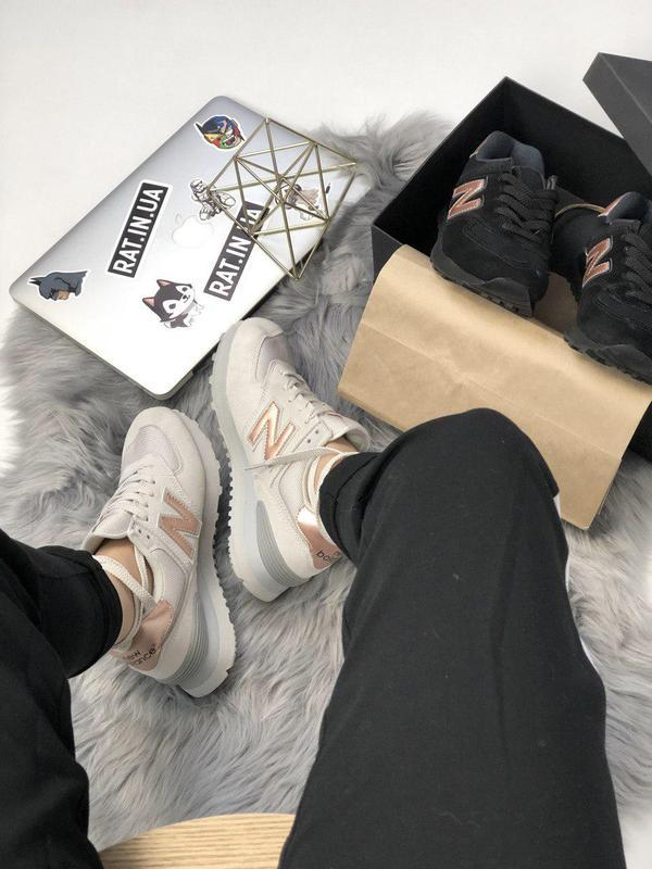 Шикарные женские кроссовки new balance 574 grey gold 😍 (весна/... - Фото 3