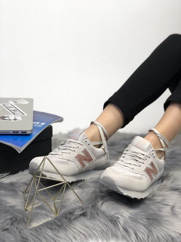 Шикарные женские кроссовки new balance 574 grey gold 😍 (весна/... - Фото 4