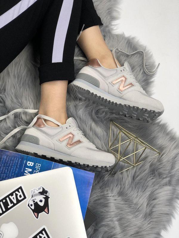 Шикарные женские кроссовки new balance 574 grey gold 😍 (весна/... - Фото 5