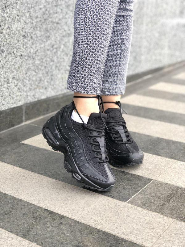 Шикарные женские кроссовки nike air max 95 full black 😍 (весна... - Фото 2