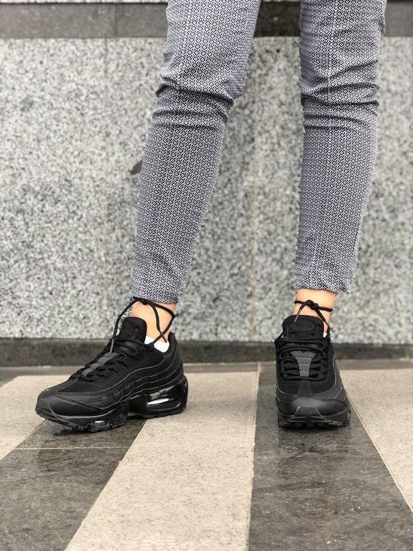 Шикарные женские кроссовки nike air max 95 full black 😍 (весна... - Фото 4