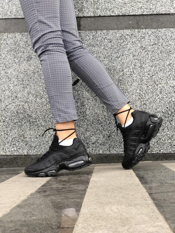 Шикарные женские кроссовки nike air max 95 full black 😍 (весна... - Фото 5