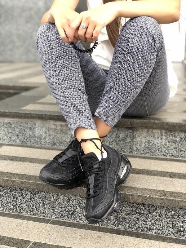 Шикарные женские кроссовки nike air max 95 full black 😍 (весна... - Фото 6