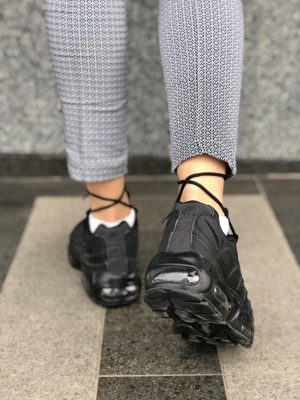 Шикарные женские кроссовки nike air max 95 full black 😍 (весна... - Фото 7